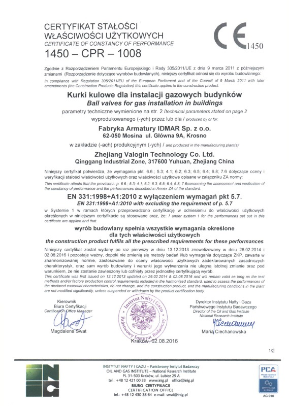 Certyfikat Stałości Właściwości Użytkowych - kurki do gazu - nowy