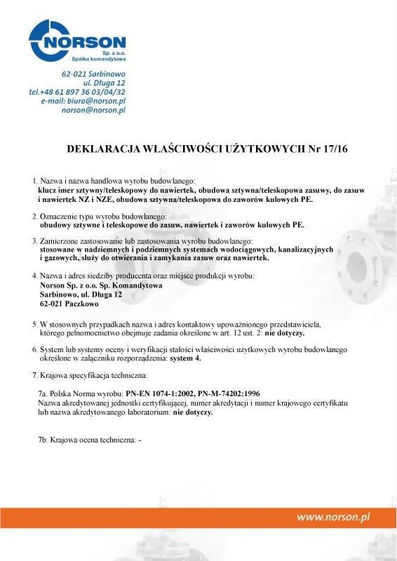 Deklaracja zgodności nr 0042013 Obudowy do zasuw i nawiertek