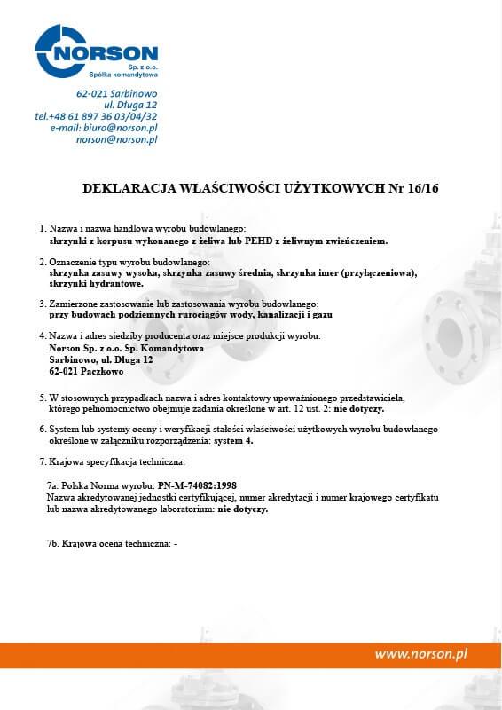 Deklaracja zgodności nr 0142013 Skrzynki PEHD