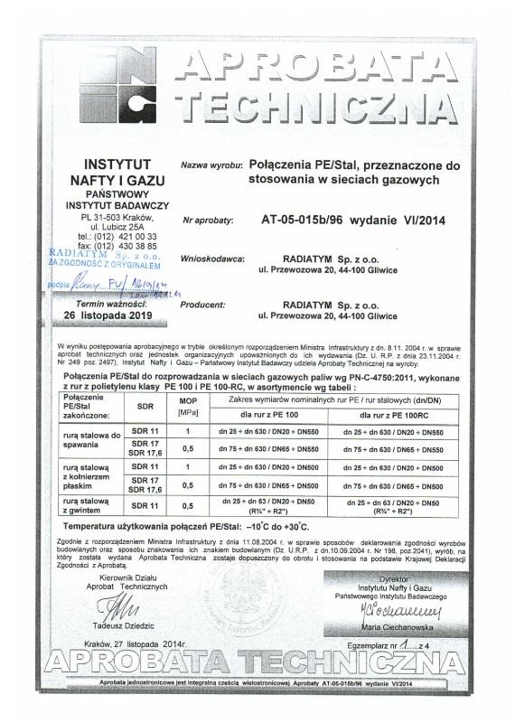 Aprobata Techniczna Radiatym Pe-Stal